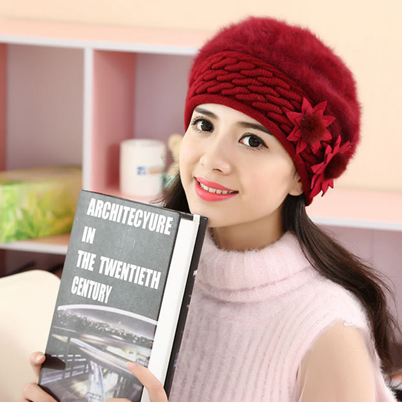 2017 New Women winter hat wool knitted beanies cap real natural Rabit fur pompom hats solid colors gorros cap female causal hat wool felt cowboy hat stetson black 50cm