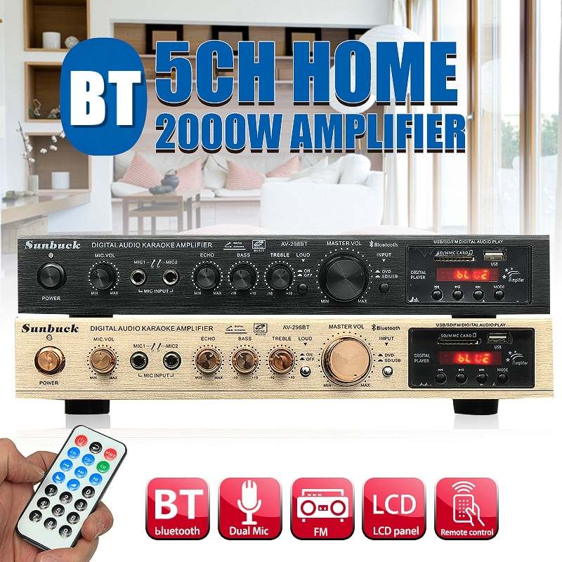 298B Bluetooth 2.0 Channel 2000W 5 Channel Audio Power Amplifier 220V AV Amp Speaker With Remote Control Support FM USB SD Cards