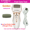 Golden charging cable pedicure electric tools Foot Care Exfoliating Foot Care Tool and 2Pcs roller pedicure heads KIMISKY