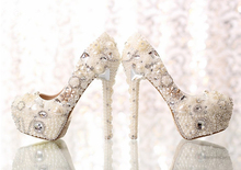 Bridal Wedding Dress Shoes Formal Prom Rhinestone Crystal Shoes Classic Heels White Pearl Bride Bead Shoes Graduation Prom Pumps