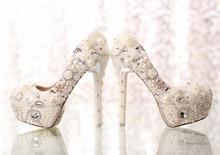 Classic Heels White Pearl Bride Bead Shoes Graduation Prom Pumps Bridal Wedding Dress Shoes Formal Prom Rhinestone Crystal Shoes