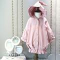 2016 otoño invierno con capucha de Un Solo pecho trinchera abrigos para niñas prendas de vestir exteriores 2-8years niños ropa niños ropa conjuntos