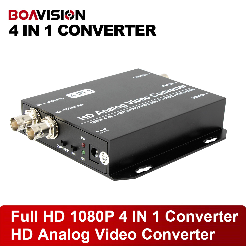 New 4 IN 1 HD AHD TVI CVI CVBS Video Converter Signal to HDMI/VGA/BNC With 720P/1080P 25/30Hz US/EU/UK/AU Plug Black ac 110 240v to dc 12v 2a power supply adapter for cctv hd security camera bullet ip cvi tvi ahd sdi cameras eu us uk au plug