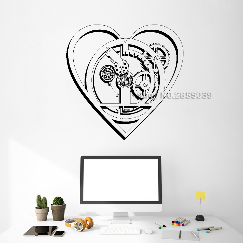 Gears Cogs Heart Wall Vinyl Decal Romantic Mechanism Office Business Room Art Wall Stickers Mural Interior Decor Removable LC513