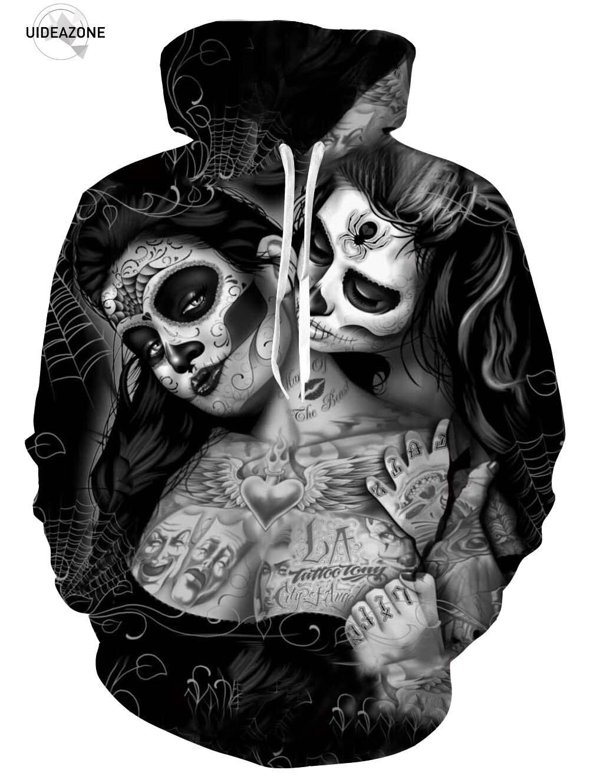 EU Größe Unisex Hoody Sweatshirts Geschmolzen 3D Gedruckt Sexy Tattoos Schädel Pullover Mode Pullover Tops Frühjahr sweatshirt dropship
