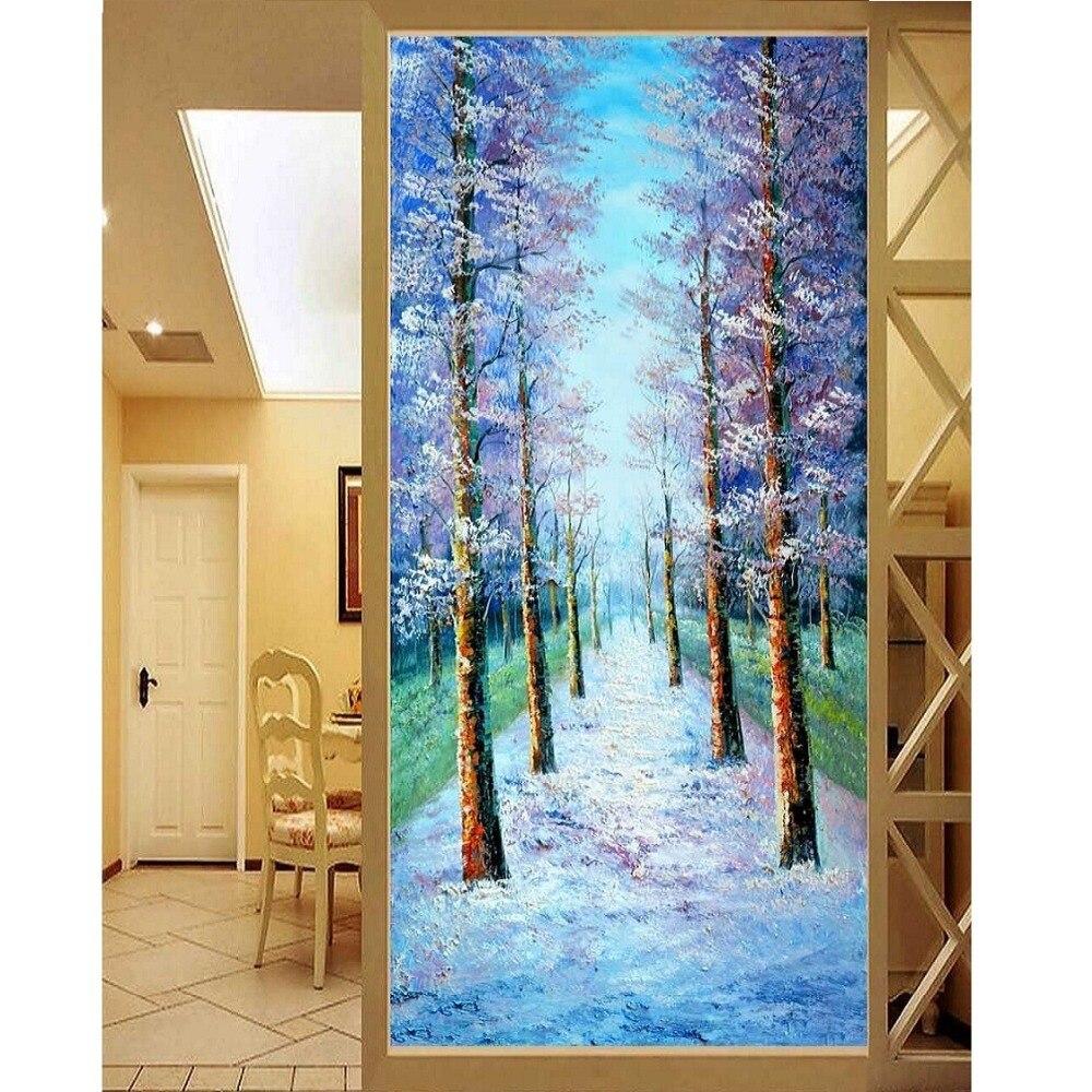 5D DIY 다이아몬드 자수 자작 나무 풍경 배경 사진 홈 장식 완전 수지 라운드 라인 석 그림 크로스 stich