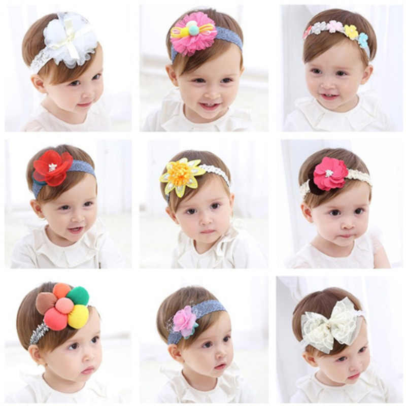 20 Types Fashion Newborn Toddler Children Hair Accessories Baby Headband Lace Flowers Cute Kids Girl Headgear Elastic Headdress