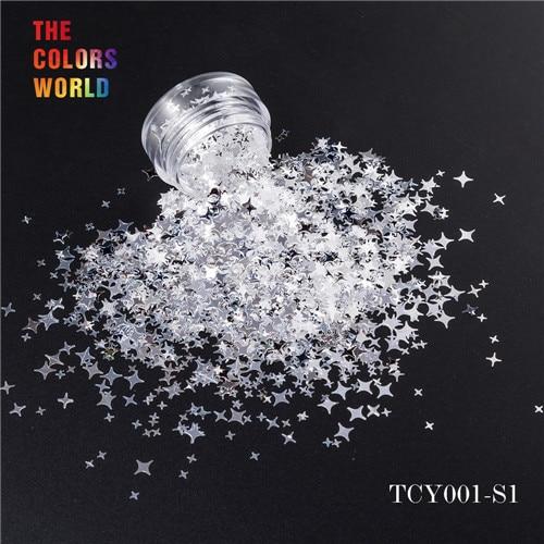 TCT-132, 12 цветов, четыре угла, форма звезд, блестки для ногтей, блестки для украшения ногтей, макияж, боди-арт, сделай сам - Цвет: TCY001-S1  200g