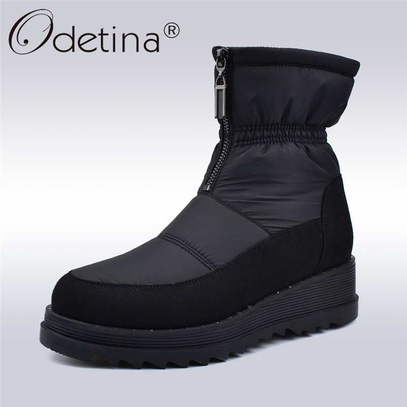 купить Odetina New Fashion Winter Down Snow Boots Women Platform Wedge Heels Women Boots Zip Female Ankle Boots Thick Plush Warm Shoes по цене 2490.82 рублей
