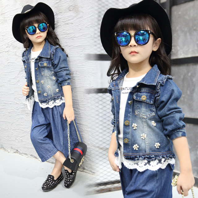 Flower Teenage Girls Denim Jacket Kids Girls Jeans Outerwear Coat