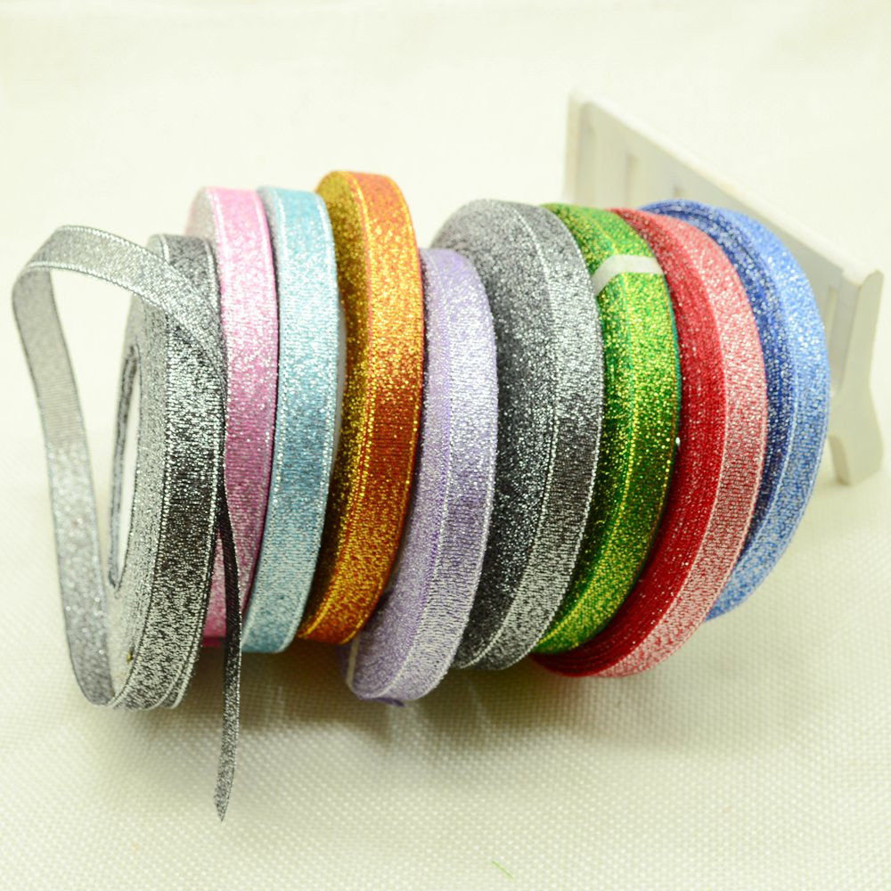 10mm 25Yards Gold silver Ribbon Silk Satin For Sewing Wedding Party Handmade Decoration Webbing Gift Packing Organza Polyester