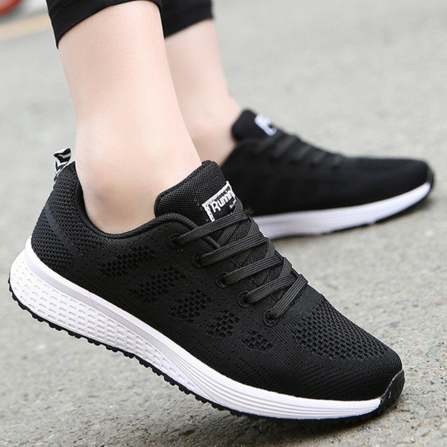 Tennis Shoes For Women 2019 Fashion Casual Shoes Lace-Up Breathable Mesh Round Cross Strap Flat Sneakers Calzado Deportivo Mujer 4