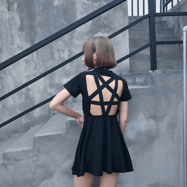Summer Women New Dress Sexy Five Pointed Hollow Out Short Sleeved Punk Dress Black Slim Girls Mini Dresses