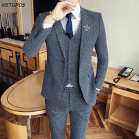 2017 Tweed suit Latest Coat Pant Designs Vintage Mens Suit Terno Masculino Costume Homme Marriage Groom Men Suits For Wedding