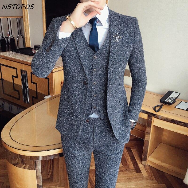 2017 Tweed vestito Ultimo Cappotto Mutanda Disegni Vintage Mens Suit Terno Masculino Costume Homme Matrimonio Sposo Uomini Vestiti Per La Cerimonia Nuziale