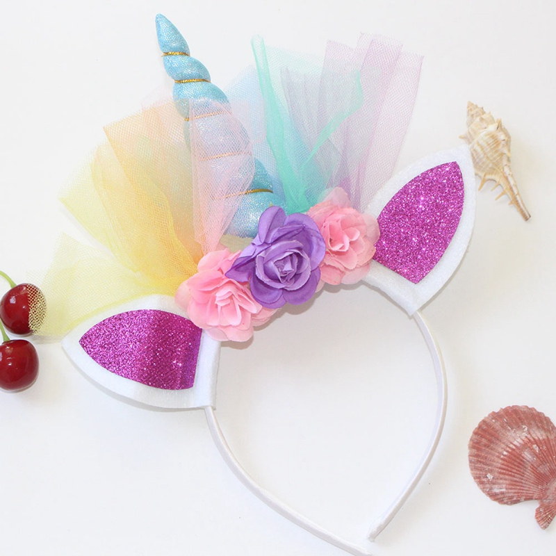 1PC Shiny Metal Unicorn Headband For Girls And Children 2018 DIY Felt Unicorn Horn Headband With Unicorn Party Hair Accessories
