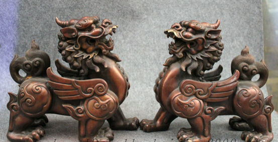 008705 11 Folk Chinese Pure Bronze Guardian Fly Dragon Kylin Unicorn PiXiu Statue Pair