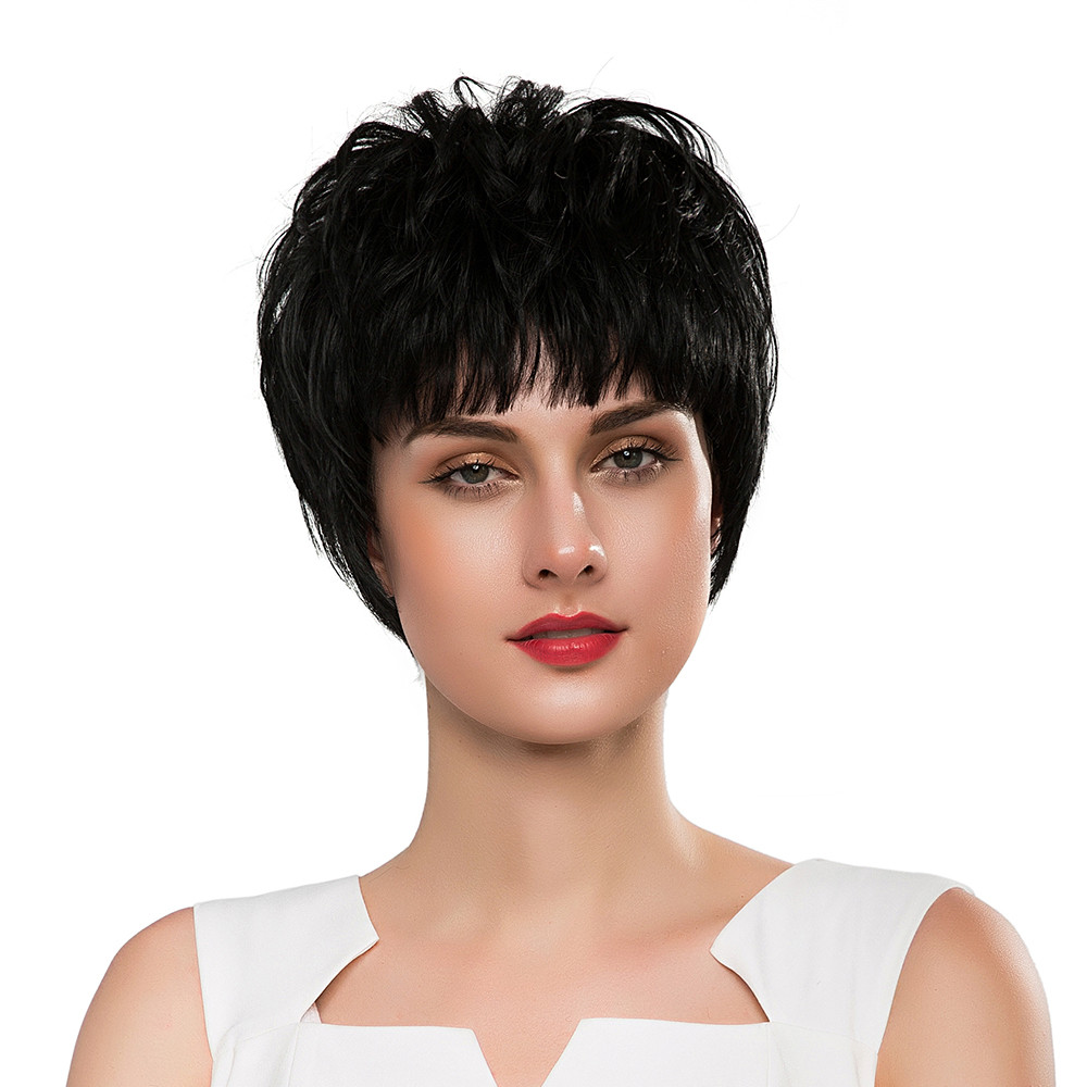 BLONDE UNICORN Extra Short Straight 8 Inch Hair Black Wigs Fluffy Texture Blend Hair Wigs with Side Fringe for White Women