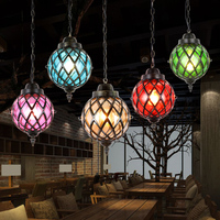 American Country Pendant Lights Vintage Iron Single Head Color Glass Lamp Bar Corridor Should Diffuse Coffee