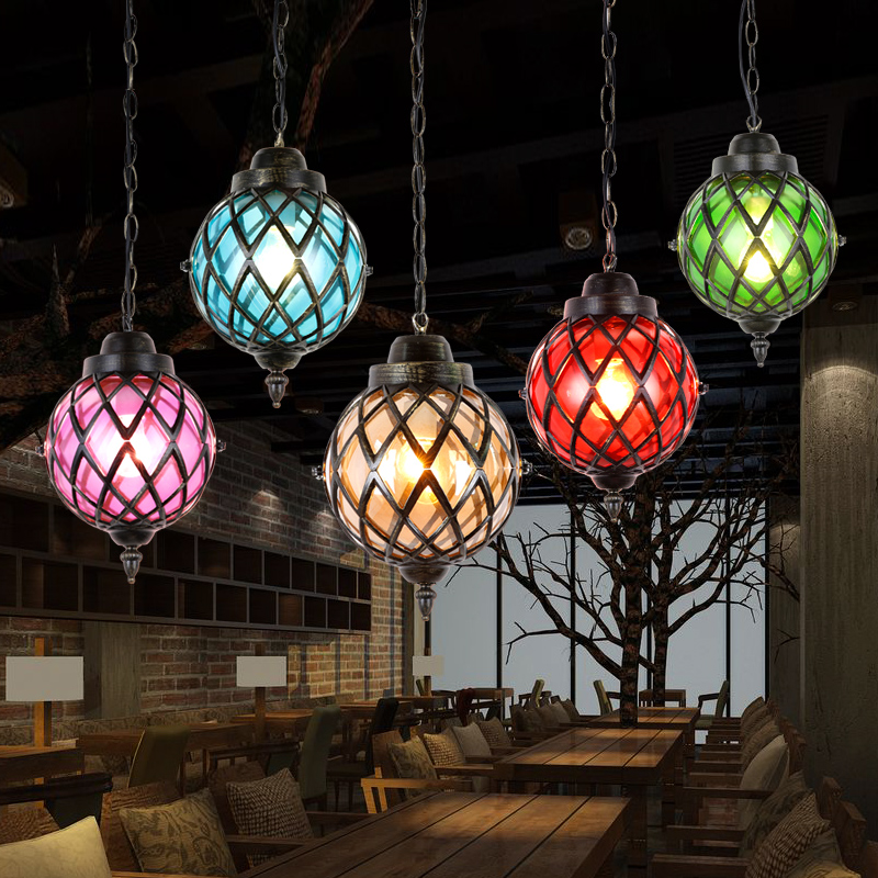 Pendant Lights American iron single head color glass village retro network cafes corridor bar lamps Pendant lamp ZL264 LU724195