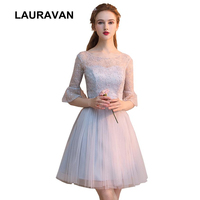 modest grey cocktail hort lace formal bandage dress dinner pageant ball gown dresses for special occasions with half sleeves
