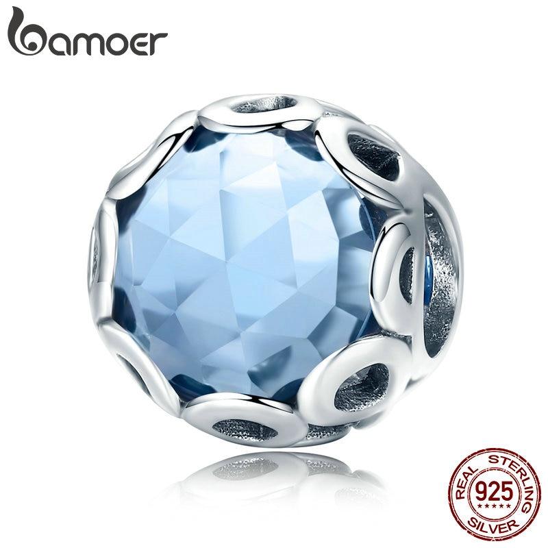 BAMOER New Arrival 925 Sterling Silver Infinity Blue Crystal CZ Round Beads fit Charm Bracelets Necklaces Jewelry Making SCC755 925 sterling silver infinity bracelets