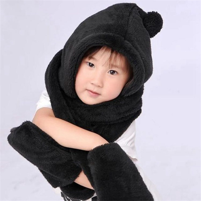 New autumn and winter Boys and girls children 's hat scarf gloves Sets ear protector fabric warmer  double-plush Black
