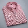 Otoño Del resorte Nuevos Hombres de Oxford Camisa A Cuadros 100% Algodón de Alta Calidad Cómodo Delgado Botón Del Cuello de Manga Larga de Los Hombres Camisa Casual