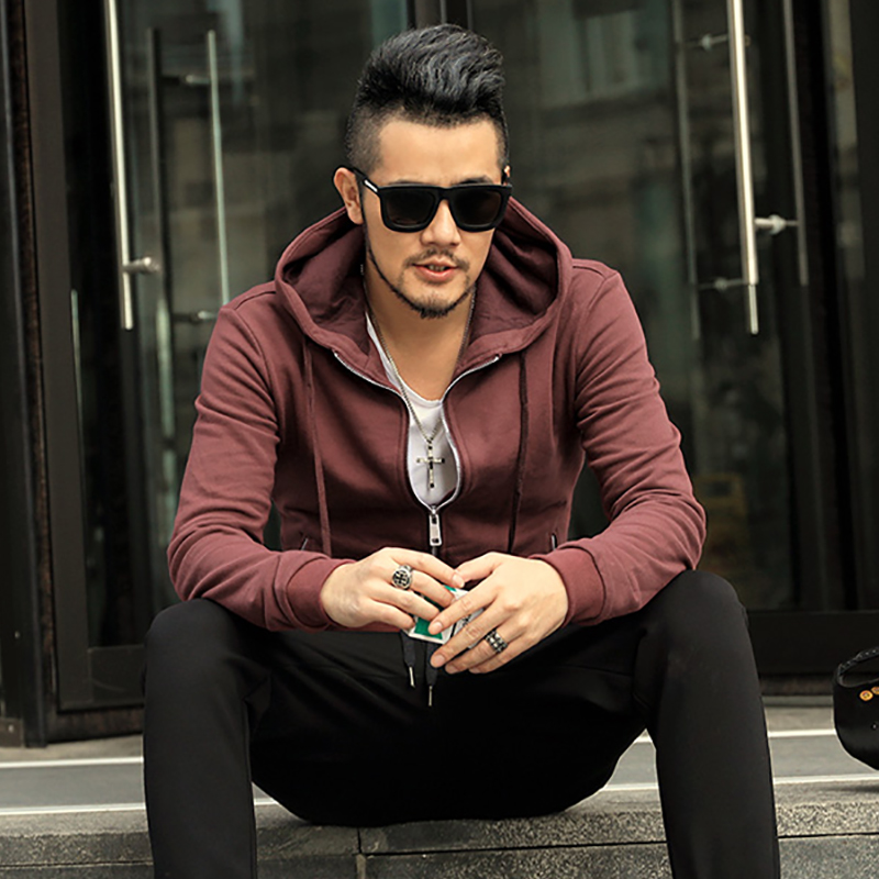 Men winter casual cotton new sweatshirts metrosexual men hoodies slim thick solid hip hop brand design zipper fashion hoodies