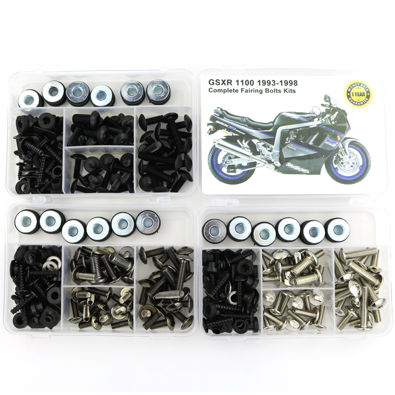 For <font><b>Suzuki</b></font> <font><b>GSXR</b></font> <font><b>1100</b></font> GSXR1100 1993-1998 Complete Full Fairing Bolts Kit Bodywork Screws Steel Clips Speed Nuts Covering Bolts image