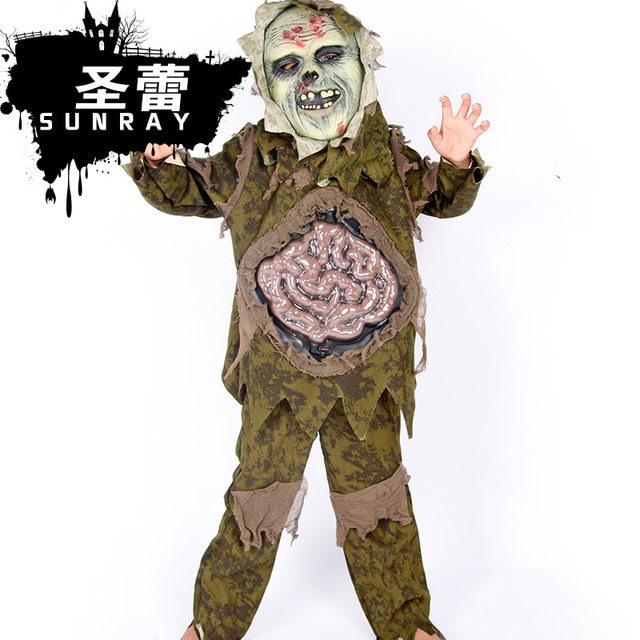 new halloween duchang strange ghost scary costumes boysgirls zombies children cosplay costume shirtpantmask 3pcs set