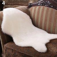 Imitation Wool Carpet Chair Cover Bedroom Faux Mat Seat Pad Plain Skin Fur Plain Fluffy Area