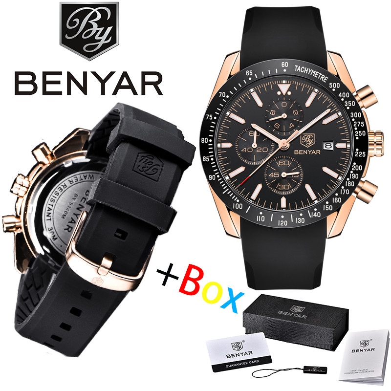 BENYAR Quartz Luxury Waterproof Chronograph Business Top Brand Silicone Strap Reloj Hombre Fashion Sport Relogio Masculino+Box