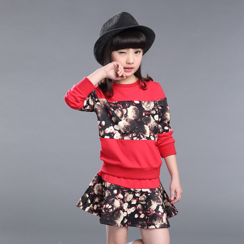 Child Spring Autumn New Girls Suit Leisure Wear Long Sleeved Two Pieces Kids Clothing Sets Flowers Printing Red Black [free shipping] 2015 new arrival fashion female 1 4 years child love baby cashmere long sleeved jacket trousers leisure suit
