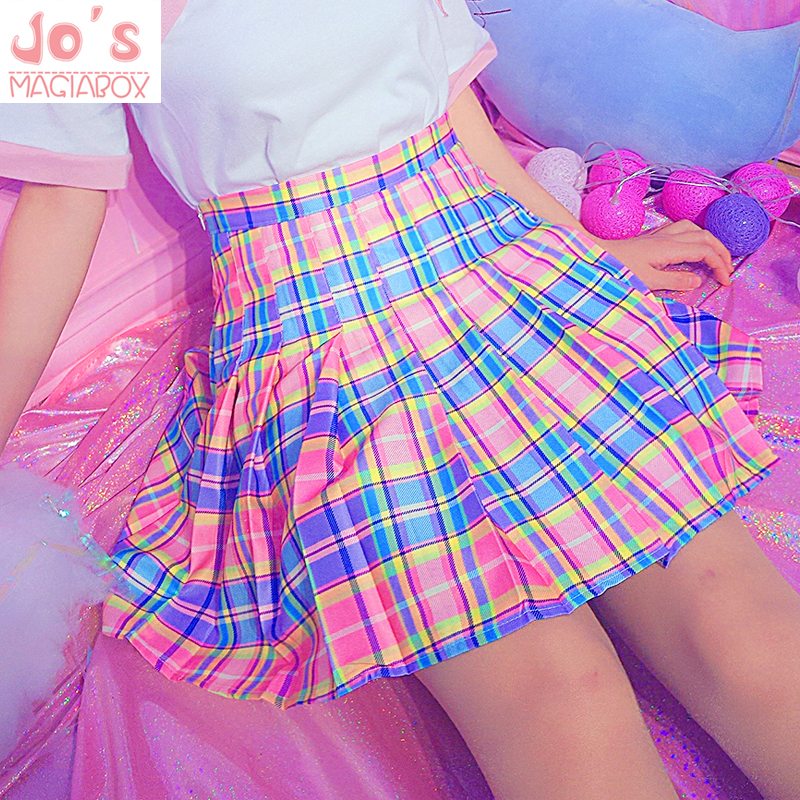 Midi Skirt Korean-Uniform Bottoms Rainbow Harajuku Plaid Female High-Waist Casual Cute