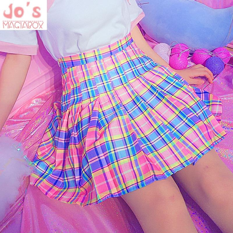 Harajuku Plaid Pleated Skirt High Waist Casual Rainbow A-Line Skirt Cute Korean Uniform Female Kawaii Women Bottoms Midi Skirt