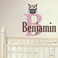 Owl Wall Decal Name And Monogram Set Children Nursery Baby Playroom Vinyl Decal Girl Boy Teen