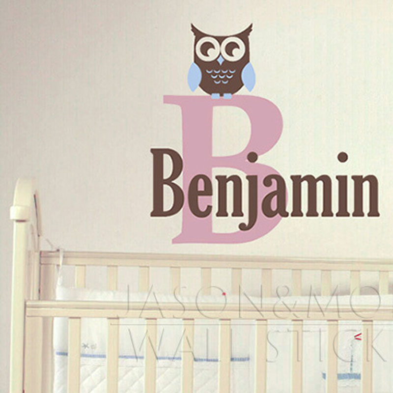 Custom Personalized Name Owl Wall Decal Sticker Boy Baby Girl Wallpaper Bedroom Nursery Vinyl for Kids Room Home Decor 60*65CM