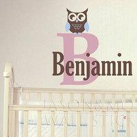 Owl Wall Decal Name And Monogram Set Children Nursery Baby Playroom Vinyl Decal Girl Boy Teen