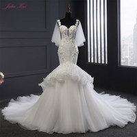 Julia Kui New Style Mermaid Wedding Dress Sweetheart Ruffles Organza Beading Pearls Appliques Lace Bride Gowns