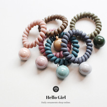 Spring and Summer New Sweet Frosted Rubber Color Telephone Line Hair Ring Cute Ball Ball Pendant Hair Rope cute hamburger land line telephone