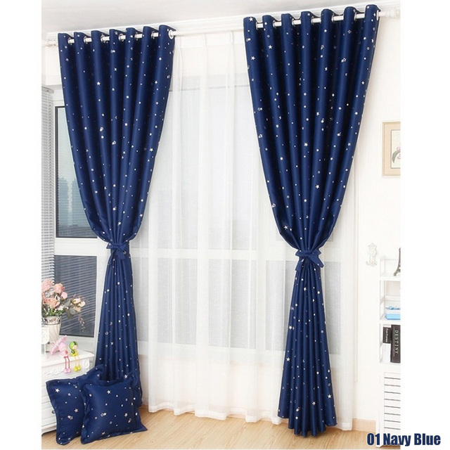 New Window Curtains Thermal Insulated Solid Silver Stars Blackout Curtain For Living Room Kids