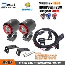 BOSMAA – phare LED Turbo, lumière stroboscopique, 20W, 3400lm, phare blanc anti brouillard DRL pour moto, chasse et conduite