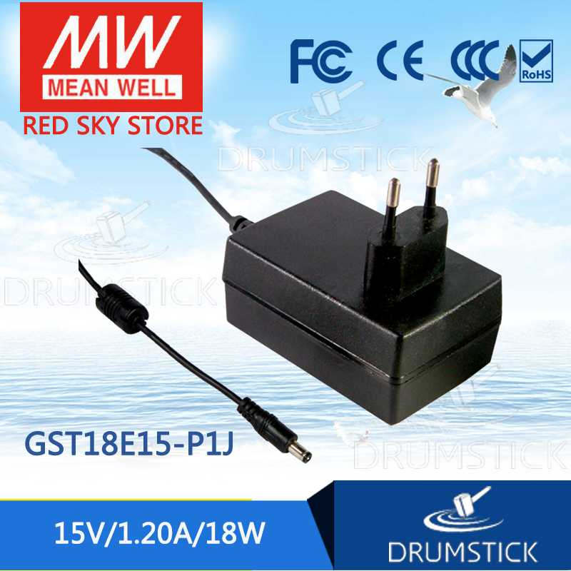 цена на Selling Hot MEAN WELL GST18E15-P1J 15V 1.2A meanwell GST18E 15V 18W AC-DC High Reliability Industrial Adaptor