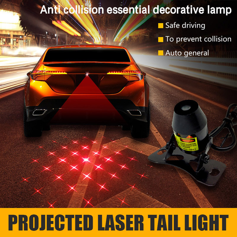 Car Motorcycle Red Laser Projector Tail Light Auto Fog Lamp Automobiles Moto Decor Brake Parking Rear Warning Lamp Taillight
