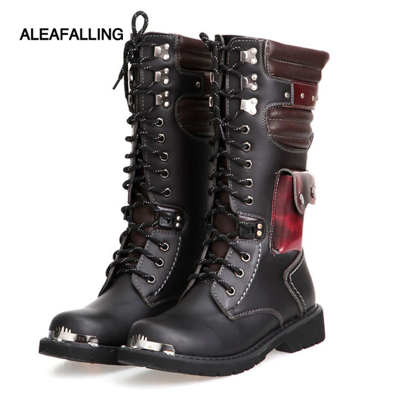Aleafalling Men Army Boot High Military Combat Boot Metal Buckle Punk Mid calf Male Motorcycle Boots Lace Up Men's Shoes Rock 28