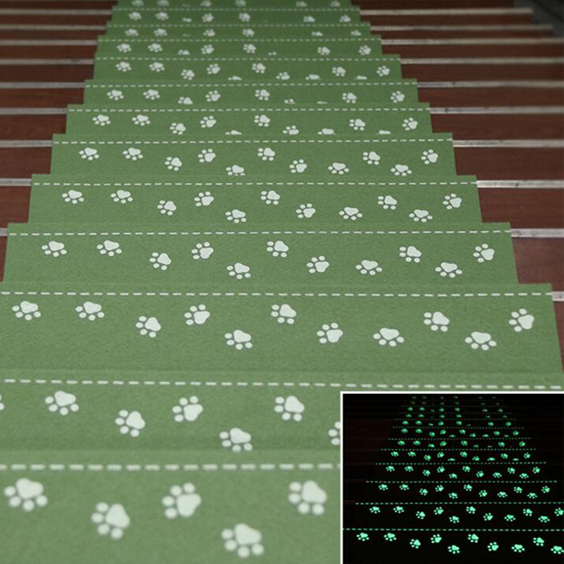 Home Luminous Self-adhesive Non-slip Floor Staircase Carpets Bear Claw Pattern Stair Treads Protector Mats Anti-skid Step Pad