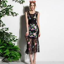 0bfcea5e442 New 2017 high quality designer women s summer dress Sleeveless black Lace  embroidery Trumpet Mermaid Mid - Calf dress