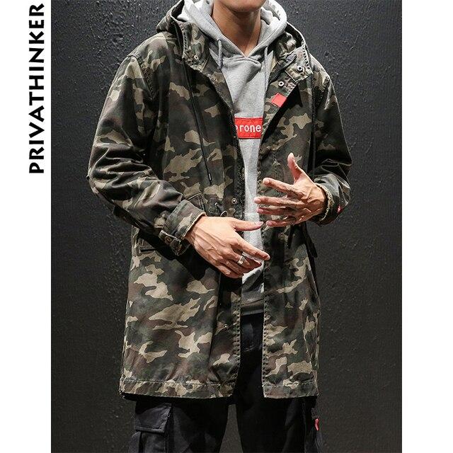 f5865a71962e5 Privathinker Camo Long Jackets Men 2018 Mens Streetwear Retro Hooded  Windbreaker Male Korean Autumn Fashions Cargo