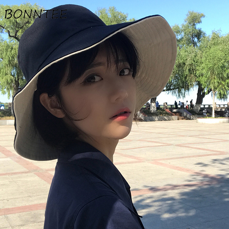 Hats Women New Solid Casual Hat Double-sided Womens Sun Shade Summer Korean Style All-match Students Lovely Sweet Fashion Daily